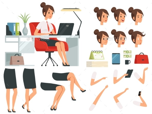 Constructor of Business Woman - People Characters