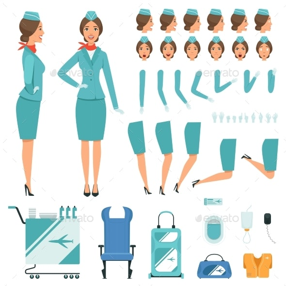 Constructor Characters of Stewardess - People Characters