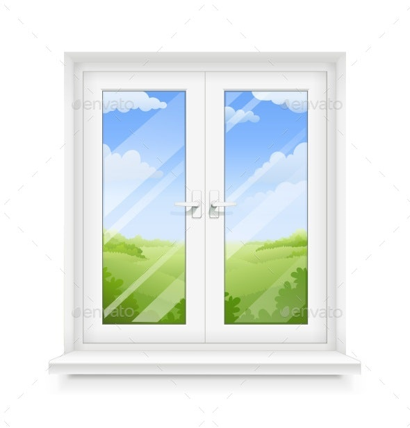 White Classic Plastic Window with Windowsill - Miscellaneous Vectors