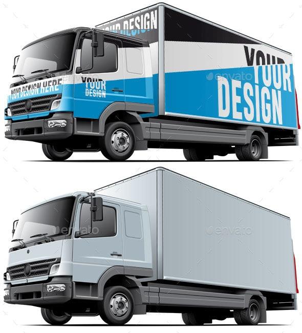 Light Commercial Truck Mockup - Vehicle Wraps Print