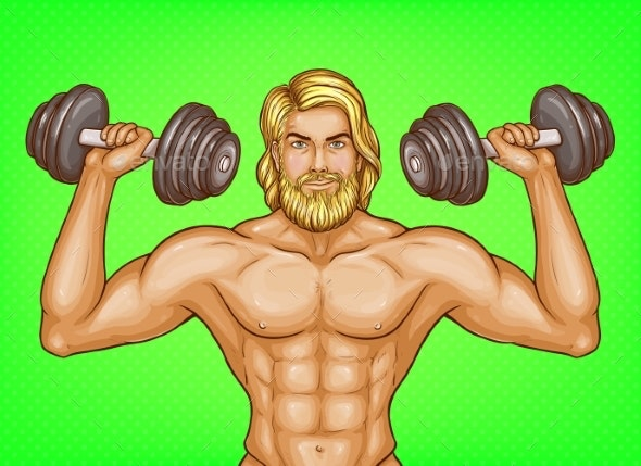 Vector Pop Art Strong Man with Dumbbells - Sports/Activity Conceptual