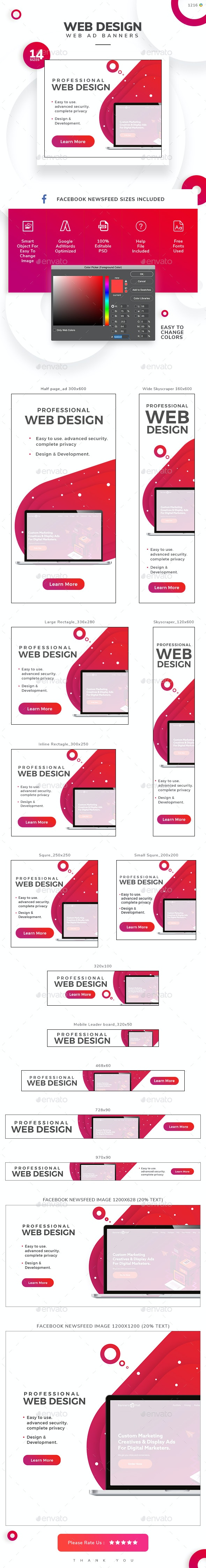 Web Design Banner Set - Banners & Ads Web Elements