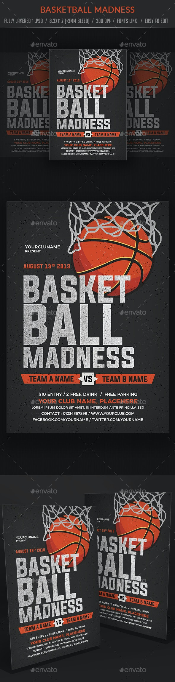 Basketball Madness Flyer Poster - Sports Events