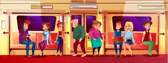 Young and Old People in Subway Vector Illustration - People Characters