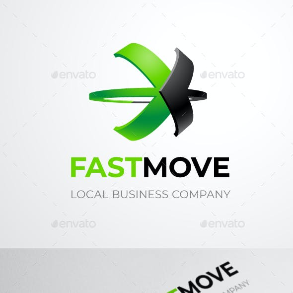 Fastmove Logo Template of Two Crossed Arrows With 3D Option