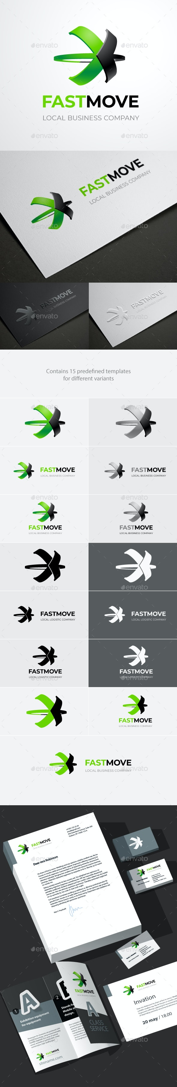Fastmove Logo Template of Two Crossed Arrows With 3D Option - Abstract Logo Templates