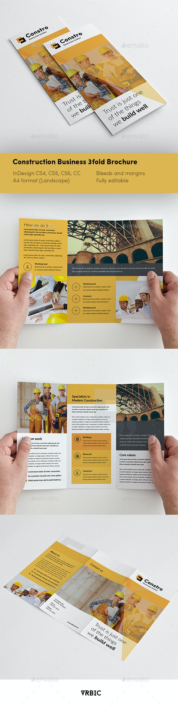Construction 3 fold Brochure - InDesign Template - Brochures Print Templates