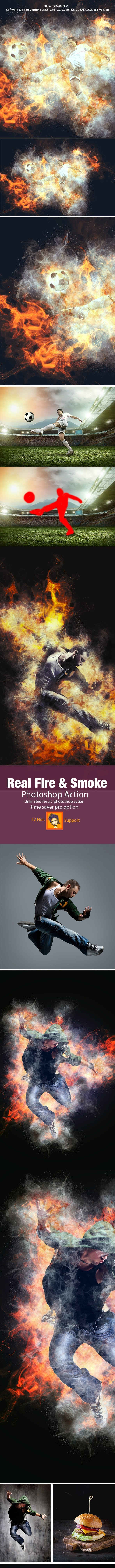 Real Fire & Smoke Photoshop Action - Photo Effects Actions