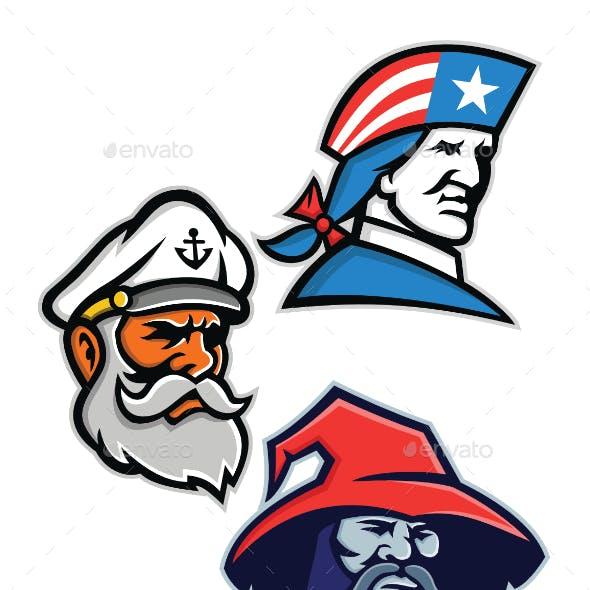 Patriot Seadog and Warlock Mascot Collection
