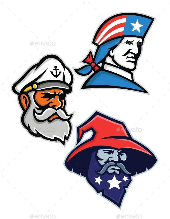 Patriot Seadog and Warlock Mascot Collection - People Characters