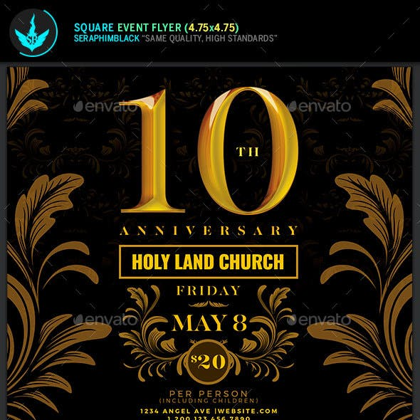 Gold Anniversary Square Flyer Template