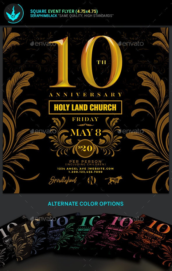 Gold Anniversary Square Flyer Template - Events Flyers