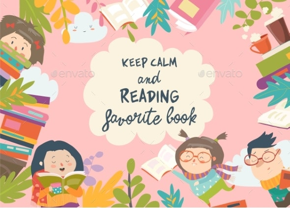 Frame Composed of Children Reading Books - Miscellaneous Vectors