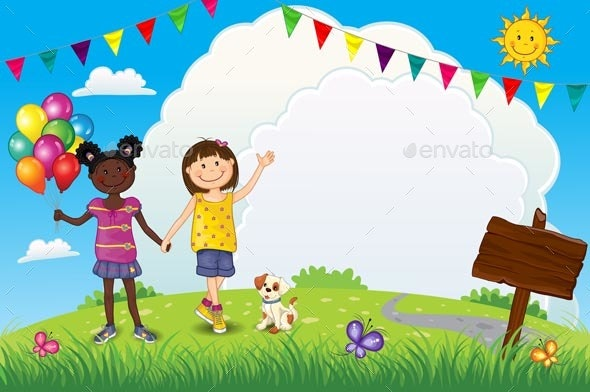 Happy Girls With Balloons Outdoors - People Characters