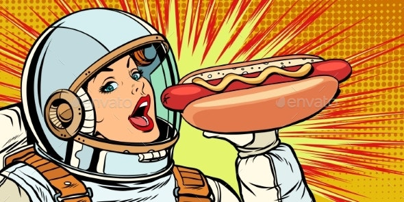 Hungry Woman Astronaut Eating Hot Dog Sausage - Food Objects
