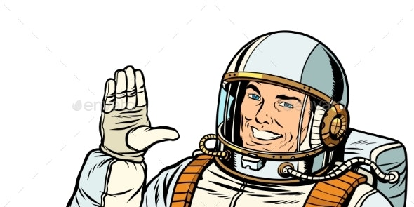 Male Astronaut Voting Hand Up - People Characters