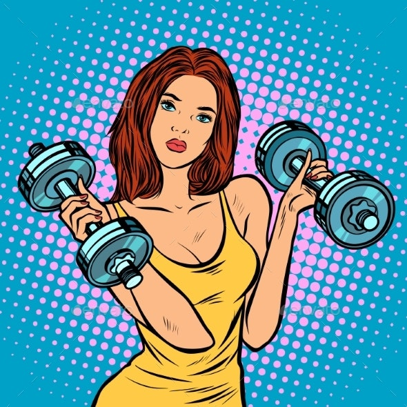 Woman with Dumbbells in Gym - Sports/Activity Conceptual
