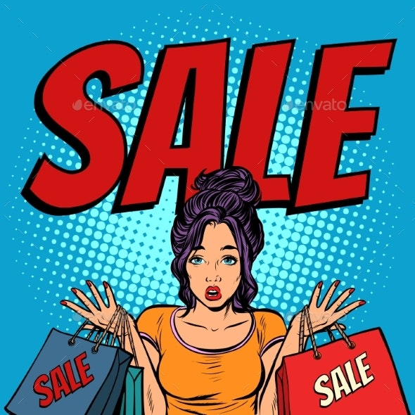 Sale Woman with Bags - People Characters