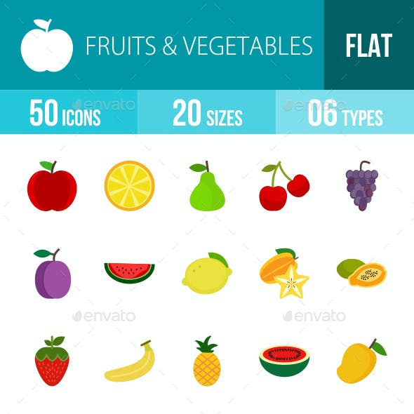 Fruits & Vegetables Flat Multicolor Icons