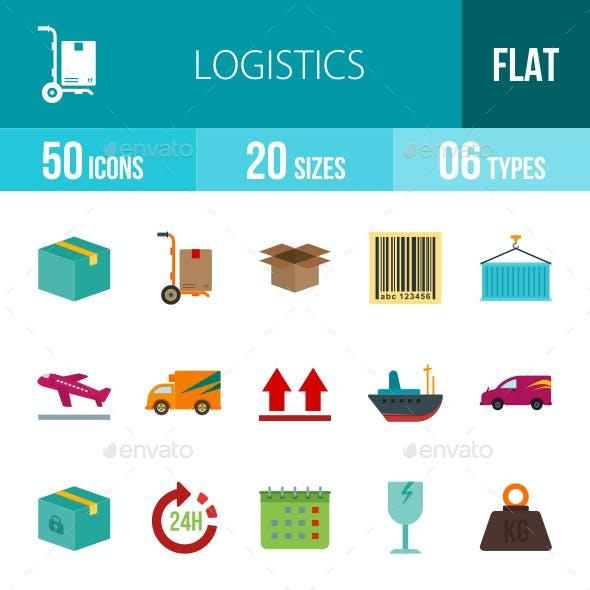 Logistics Flat Multicolor Icons