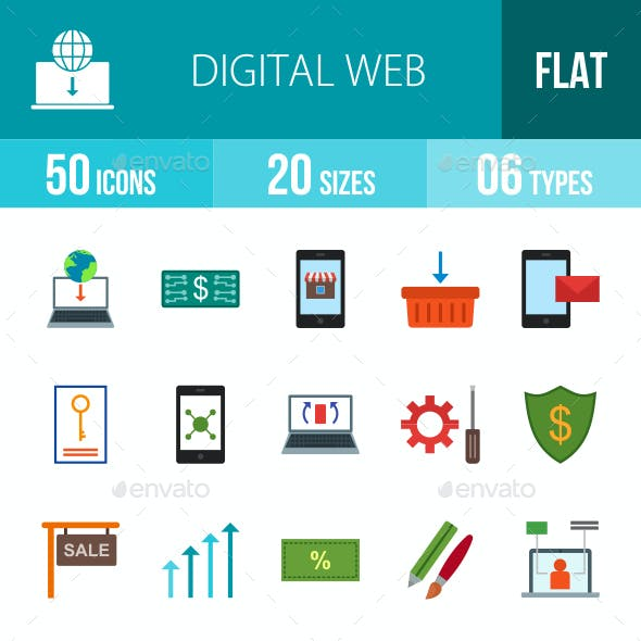 Digital Web Flat Multicolor Icons