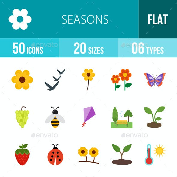 Seasons Flat Multicolor Icons