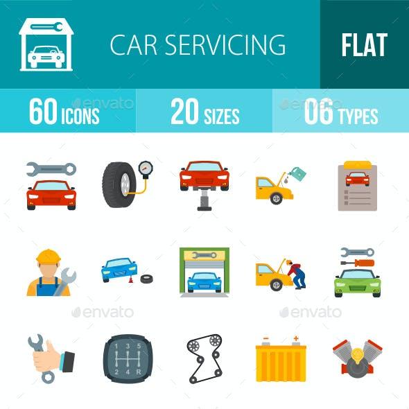 Car Servicing Flat Multicolor Icons