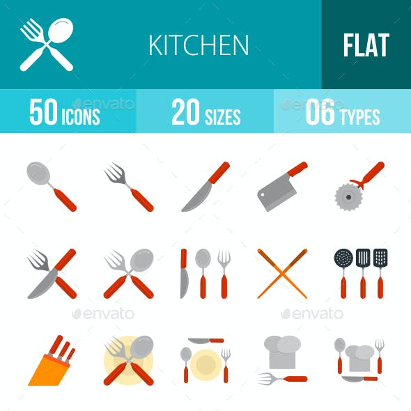 Kitchen Flat Multicolor Icons