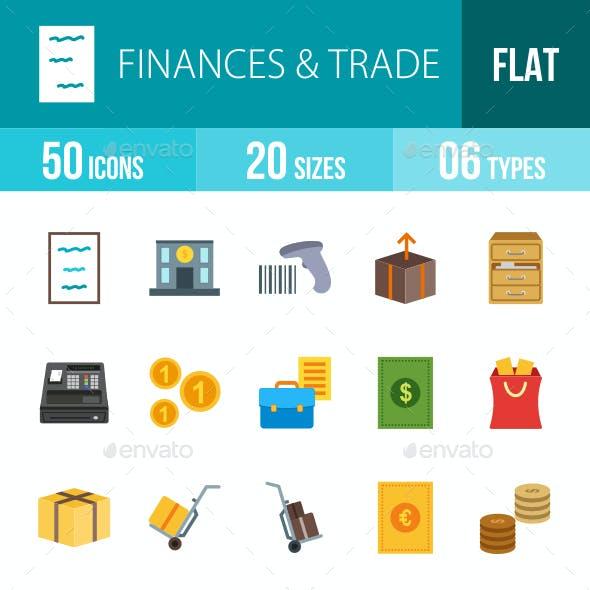 Finances & Trade Flat Multicolor Icons