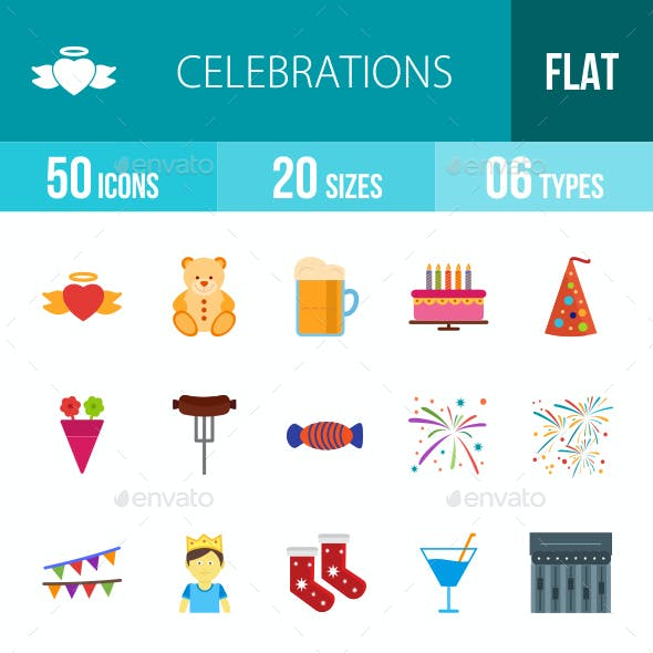 Celebrations Flat Multicolor Icons
