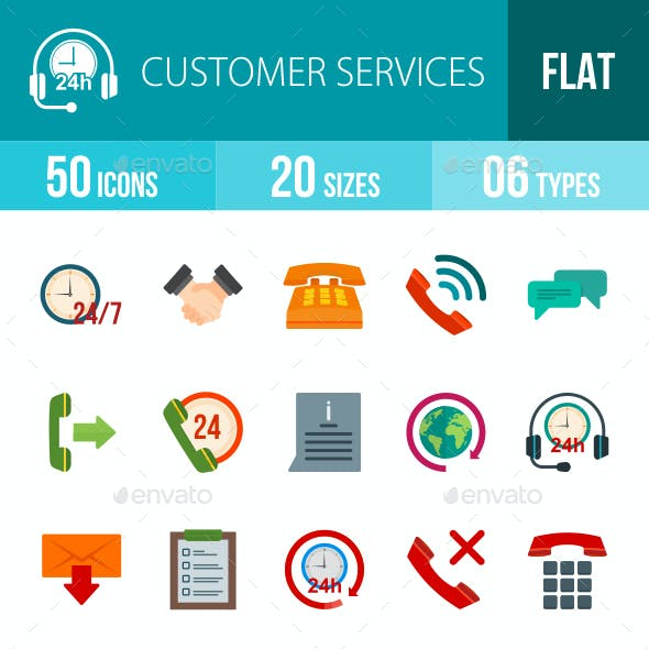 Customer Services Flat Multicolor Icons