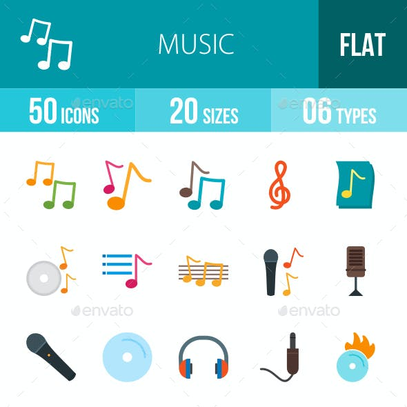 Music Flat Multicolor Icons