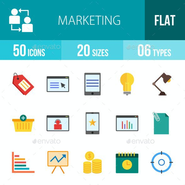 Marketing Flat Multicolor Icons