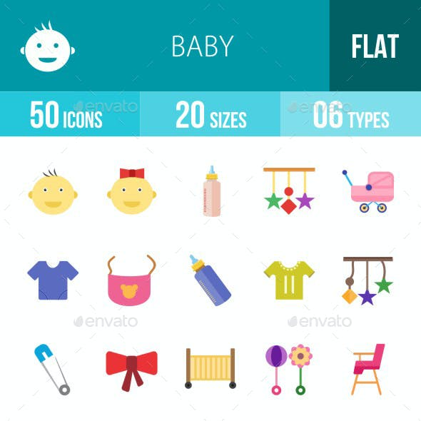 Baby Flat Multicolor Icons