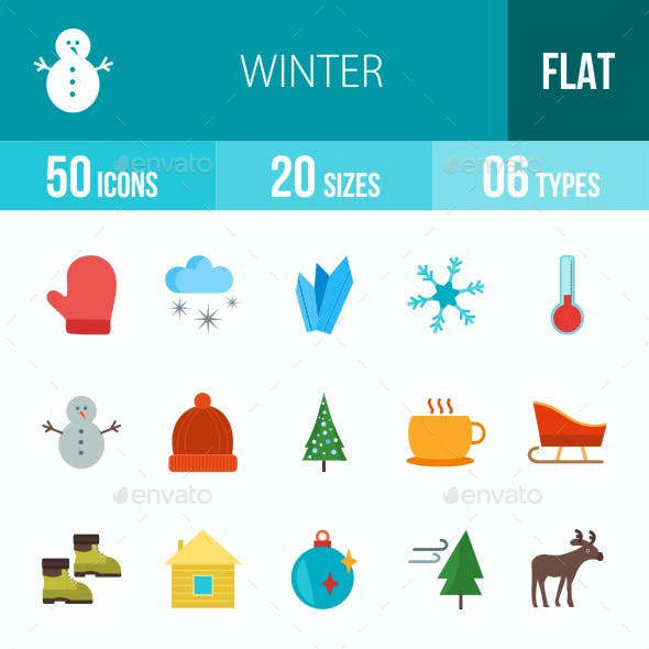 Winter Flat Multicolor Icons