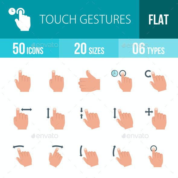 Touch Gestures Flat Multicolor Icons