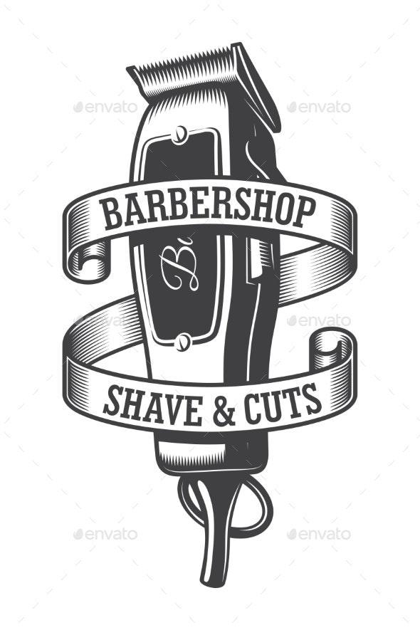 Vintage Monochrome Hairdresser Salon Logo - Miscellaneous Vectors