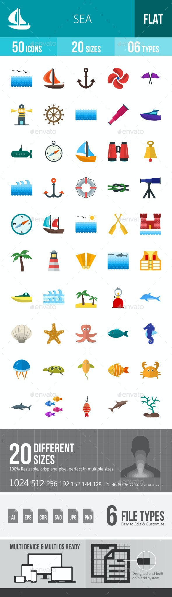 Sea Flat Multicolor Icons - Icons
