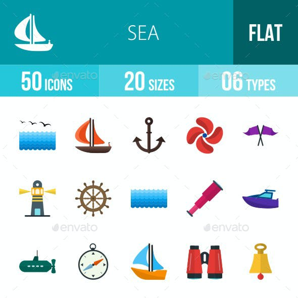 Sea Flat Multicolor Icons
