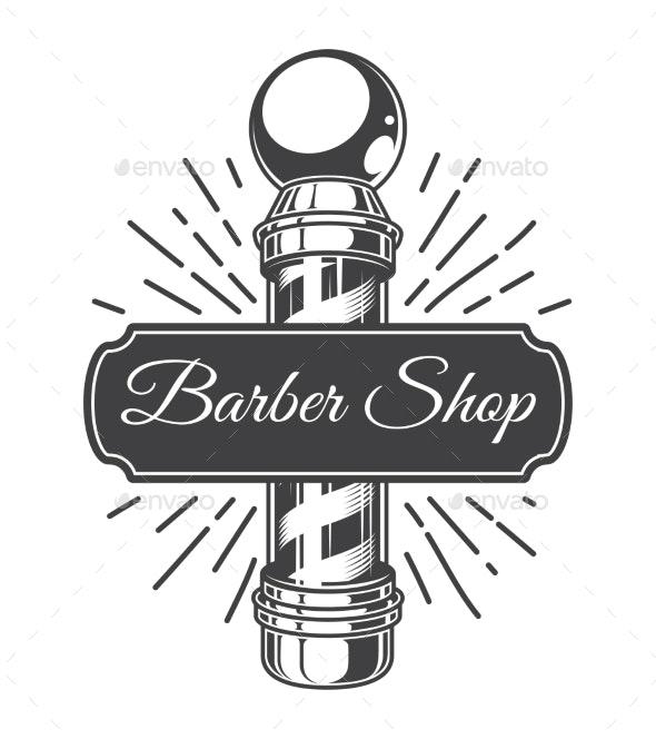 Vintage Hairdresser Salon Monochrome Logo - Miscellaneous Vectors
