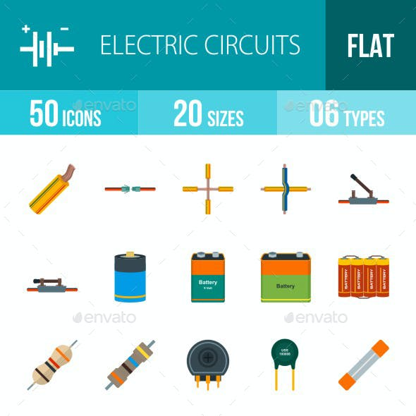 Electric Circuits Flat Multicolor Icons