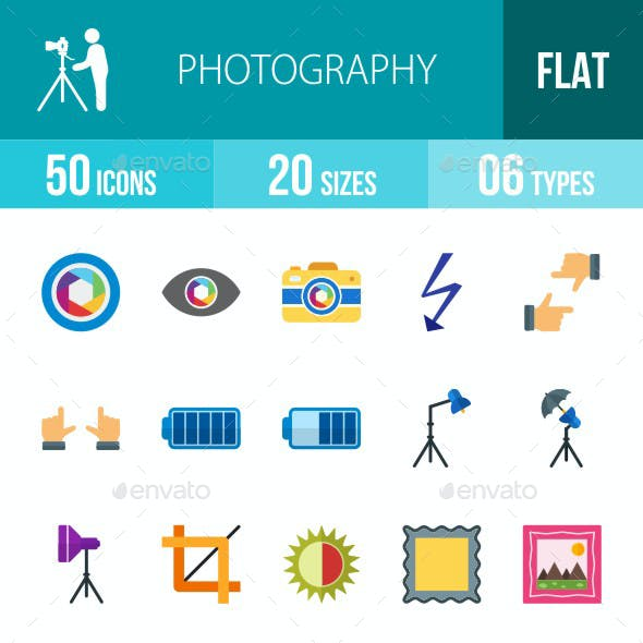 Photography Flat Multicolor Icons