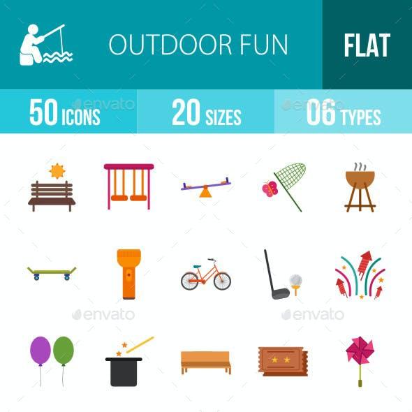 Outdoor Fun Flat Multicolor Icons