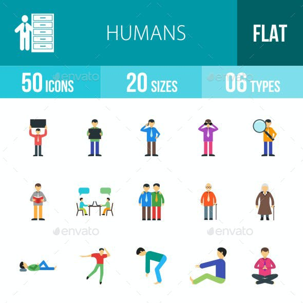 Humans Flat Multicolor Icons