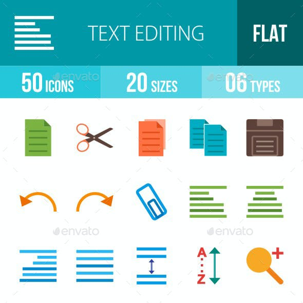 Text Editing Flat Multicolor Icons