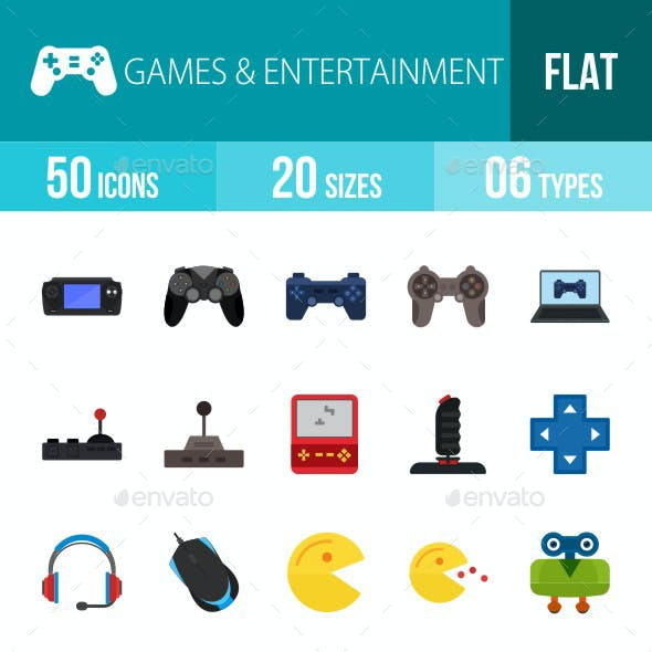 Games & Entertainment Flat Multicolor Icons