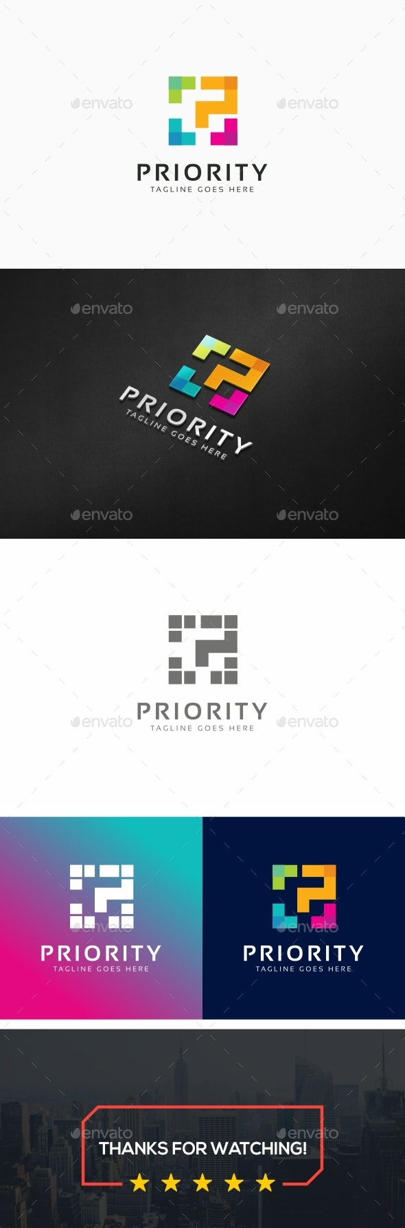 Priority - P Letter Logo - Letters Logo Templates