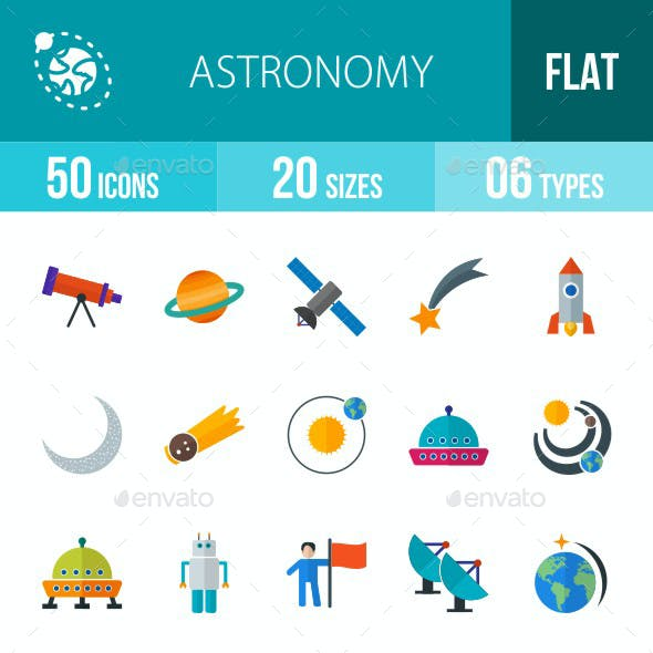 Astronomy Flat Multicolor Icons