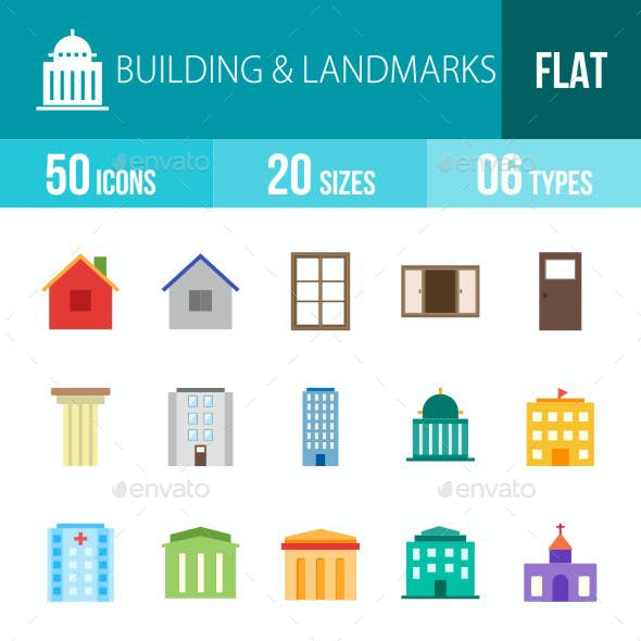 Building & Landmarks Flat Multicolor Icons