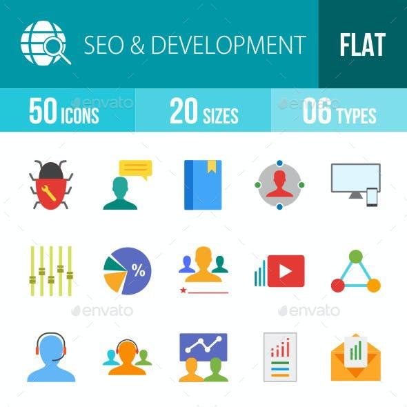 SEO & Development Services Flat Multicolor Icons